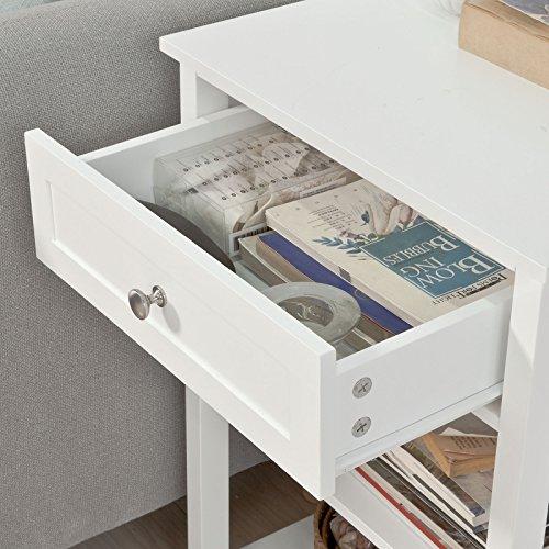 SoBuy® FBT46-W Beistelltisch Nachttisch Couchtisch in weiß mit einer Schublade und 2 Ablagen BHT ca: 45x68x30cm - 4