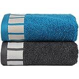 Trident 550g/m², extra grande (50cm x 70cm) 2piezas Combo de algodón toallas de mano -Trullo Azul y Gris