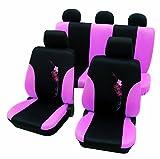 Cartrend 60260 Flower Sitzbezug-Komplettset, Rosa, mit Dokunaht