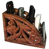 Greentouch Crafts Wooden Remote Control Storage Holder Stand Organizer Rack