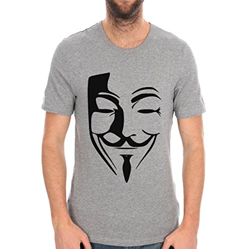 Anonymous Banksy Face World Herren T-Shirt Grau