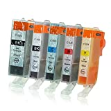 5 Druckerpatronen mit Chip und Füllstandsanzeige kompatibel zu Canon PGI-525/CLI-526 für Pixma IP-4850 IP-4950 IX-6550 MG-5140 MG-5150 MG-5240 MG-5250 MG-5300 MG-5340 MG-5350 MX-715 MX-885 MX-895