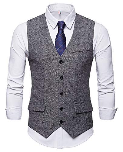 WHATLEES Herren Tweed Kariert Weste - Schmale mit Zweireihige Knopfleiste BA0116-gray-M BA0116-gray-M-new