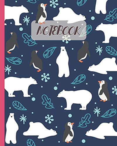 Notebook: Polar Bears & Penguins Cartoon - Lined Notebook, Diary, Track, Log & Journal - Gift Idea for Kids, Teens, Men, Women (8
