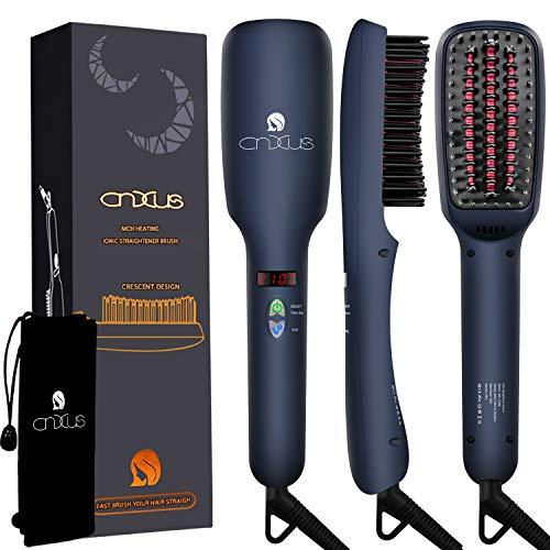 Ionischer Haarglätter Bürste, CNXUS MCH Keramische Heizung Glättbürste, LED-Display + einstellbare Temperatur Haarglättung Bürste, Anti Verbrühen+Auto abgeschaltet Tragbare Glättungbürste -