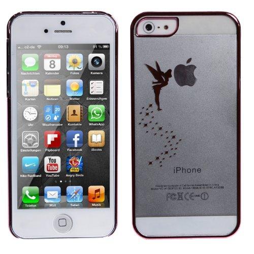 wortek Schutzhülle Apple iPhone 5 / 5S Crystal Case Engel / Fee Aufdruck Transparent Blau (harte Rückseite kratzfest) Transparent Pink