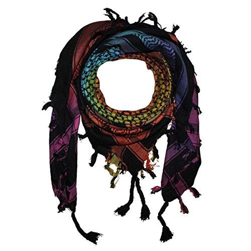 Superfreak® Palituch multicolor bunt°PLO Schal°100x100 cm°Pali Palästinenser Arafat Tuch°100% Baumwolle, Farbe: Batik schwarz/bunt1