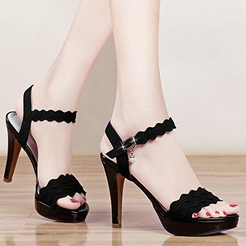 GTVERNH-black 7.5cm super tacco alto sandali estate sexy notte negozio signora sola scarpa impermeabilizzare la tabella e scarpe da donna,36 Thirty-six