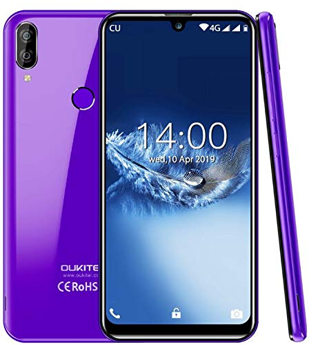 """(2019) 4G Smartphone ohne vertrag, OUKITEL C16 Pro Android 9.0 Handy - MT6761 Quad-Core 2.0GHz 3GB +32GB, 5,71\""""Wassertropfen Bildschirm, Gesichtserkennung& Fingerabdrucksensor Entsperren Lila"""