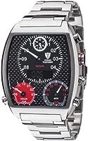 Detomaso Men's Quartz Watch VOLTURNO Silver/Black Steel Trend DT2057-C with Metal Strap