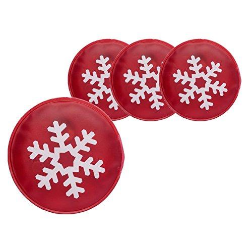 4x Taschenwärmer / Handwärmer / Fingerwärmer zum Knicken / Handwärmer Heizpad Fingerwärmer wiederverwendbar mit Motiven Weihnachten für Kinder und Erwachsene (4x Schneeflocke)