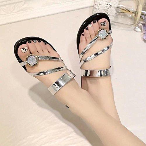 Beach sandali infradito studenti scarpe casual con scarpe basse di strass a fogli mobili argento