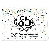 Große Glückwunschkarte zum 85. Geburtstag XXL (A4) Modern/mit Umschlag/Edle Design Klappkarte/Glückwunsch/Happy Birthday Geburtstagskarte/Extra Groß/Edle Maxi Gruß-Karte