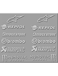 PEGATINAS SPONSORS MOTO GP R326 STICKERS AUFKLEBER DECALS AUTOCOLLANTS ADESIVI BRIDGESTONE REPSOL (PLATA)