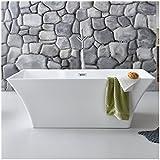 Freistehende Badewanne weiß Neuss2 Modern Acrylbadewanne 170x80cm (mit Geruchsverschluss (Flachsiphon))