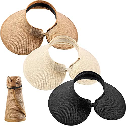 3 Stücke Damen Faltbare Stroh Sonnenblende Hut Breit Rand Aufrollen Strand Hut mit Krawatte SATINIOR