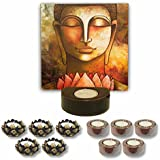TYYC Diwali Gifts Artistic Lord Buddha Tealight Holder Diwali Decoration Candle Lights For Puja, Home, Office Set Of 11