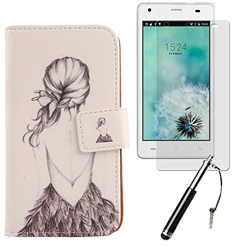 "Lankashi 3in1 Set Giraffe Design PU Cuir Coque Case Pour Cubot Echo 5"" Housse Etui Cover Flip Verre Trempé Vitre de Protection écran Rétractable Mini Tactiles Capacitif Stylus Touch Pen Stylet Stylo Back Girl"