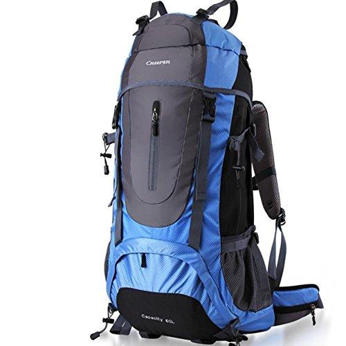 Grande zaino da montagna impermeabile Nylon borse da viaggio outdoor Camping Escursionismo zaino da arrampicata Blue