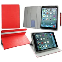 Emartbuy® Woxter QX 95 Android Quad Core 9 Inch Tablet Universal ( 9 - 10 Inch ) Rojo Premium PU Leather Multi Angle Executive Folio Wallet Case Cover Grey Interior With Card Slots + Rojo Lápiz Óptico
