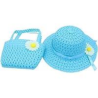 YOPINDO bébé paille chapeau de plage chapeau de soleil avec sac à main habiller chapeau sac à main Set 8 couleur