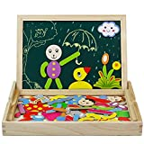 Wooden Writing Board Box Magnetic Number Jigsaw Puzzle Drawing Whiteboard Blackboard Easel Toy