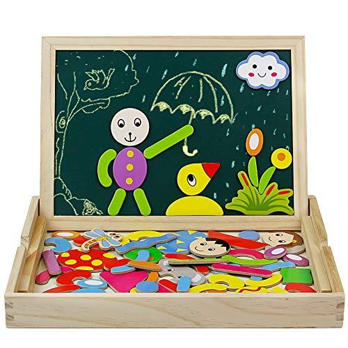 Tribe - Juguete Educativos de madera y pizarra Blanca con tablero magnéticos (puzzle para Niños Infantil de 3 4 5 Años)