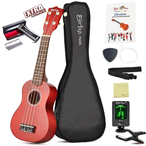 """Ukulele Premium Starter Pack di EVERJOYS – 21""""Ukulele Soprano in legno, Manifattura d'alta qualità, Kit per principianti con accordatore digitale, guida canzoni, plettro di riserva, corde e rivestimento lucido (Mogano)"""