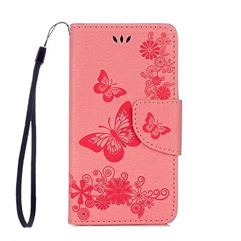 Crisant Case Cover For Wiko Sunny,Belles impressions papillon conception portefeuille magnétique supporter PU cuir de flip protection housse coque étui pour Wiko Sunny rose