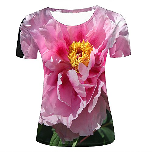 Mens 3D Printed T-Shirts Sunshine Shines On The Elegant Pink Peonies Graphics Couple Tees C