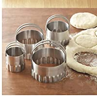TOSSPER 4Pcs/Set Round Wave Stainless Steel Cookie Cutters With Handle Pie Fondent DIY Cake Cutter Biscuit Scones Pasty Kitchen Tools