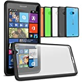 Orzly® - Fusion Bumper Case for LUMIA 535 SmartPhone - Fusión Gel Funda en NEGRO con Posterior en Transparent - Designed para MICROSOFT LUMIA 535 SmartPhone / Teléfono Móvil (Original 2014 Microsoft Version de Nokia Lumia SmartPhone con Windows 8.1 OS)