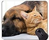 Yanteng Alfombrilla de ráton de Caucho Natural para Juegos, Impresa con un Gato Que Duerme con su Mascota, Bordes cosidos