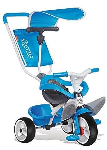 Smoby Toys, 444208, Tricycle Baby Balade, Tricycle Evolutif avec Roues Silencieuses, Dispositif Roue Libre, Bleu