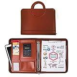 Sysmarts Leder Schreibmappe A4 schwarz | Konferenzmappe | Dokumentenmappe mit Reißverschluss + Taschenrechner + Ringbuch | Organizer | Aktenmappe