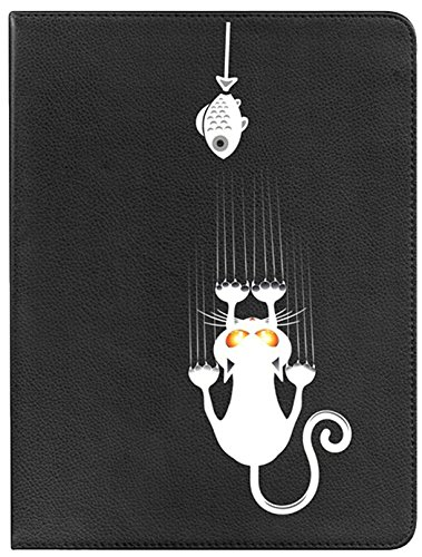 Becool custodia a libro per huawei mediapad t310–cover girevole 360° con funzione supporto, motivo gattino e pececito