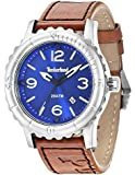 Timberland Cranston Men's Quartz Watch with Blue Dial Analogue Display and Brown Leather Strap 14324JS/03