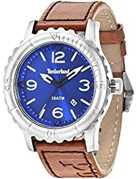 Timberland Men's Quartz Watch with Blue Dial Analogue Display and Brown Leather Strap 14324JS/03