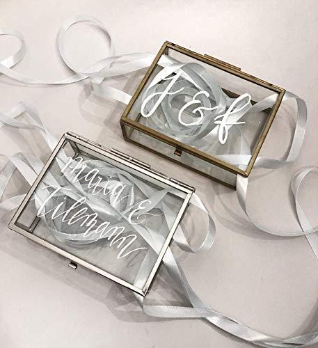 Individuell beschriftete Ringbox aus Glas in gold & silber Hochzeit personalisiert