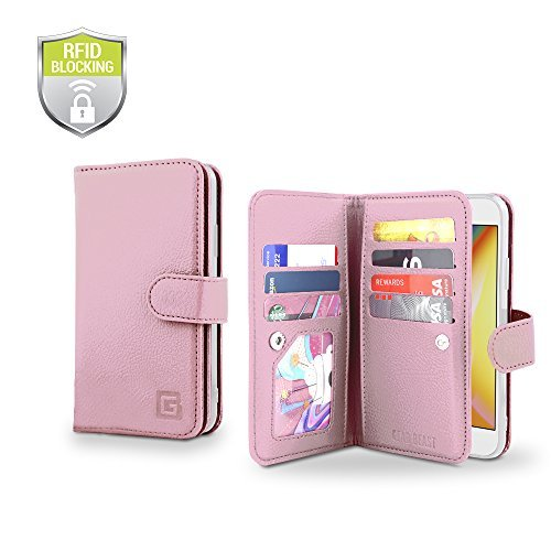 Gear Beast iPhone 8/7 Wallet Case, Flip Cover Dual Folio PU-Leder Schutz Hülle Slim 7 Kartenfächern, inkl. ID Holder-Plus Cash/Eingang Taschen für Damen und Herren Bonus Displayschutzfolie, Rose Gold (Vuitton Louis Fall Samsung)