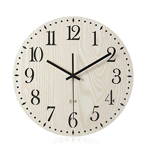 Rustikale Holz-tabellen (Gyps Home Wohnzimmer Schlafzimmer Büro Cafe Bar Decor Retro Wanduhr Original Vintage Rustikale Wanduhr Kreative mute Wanduhr Holz- Uhr im Wohnzimmer modernes Schlafzimmer Uhren minimalistischen Tabelle, 30 cm)