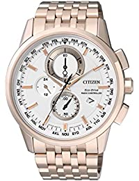 Citizen Herren-Armbanduhr RADIO CONTROLLED Chronograph Quarz Edelstahl beschichtet AT8113-55A