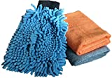 #3: Sobby Microfiber Cleaning Cloths 3 In 1 Combo For Car Care ( 2 Large Microfibre Cloth & 1 Big Size Microfiber Mitt Glove - Assorted Colors)