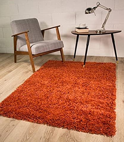Ontario Luxurious Easy Clean Soft Cheap Terracotta Orange Shaggy Rugs