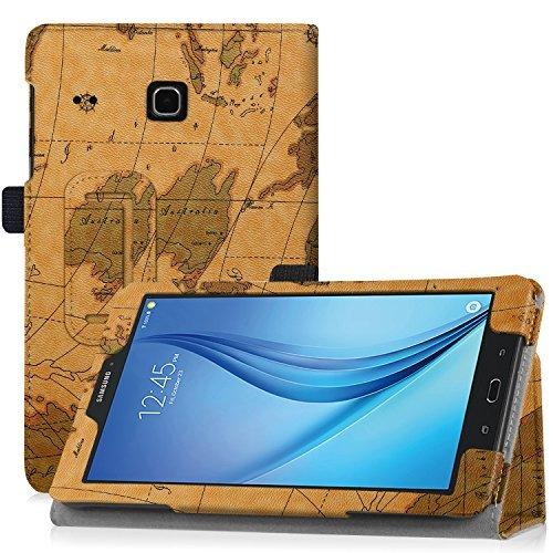 WizFun Folio Kunstleder Case Cover für Samsung Galaxy Tab E 8.0 (Sprint) sm-t377/smt377 4 G LTE-Tablet ,MapBrown