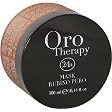 Fanola Mascarilla ORO THERAPY 24K Rubino Puro Subliminante 300 mL - Cabellos coloreados tratados - Rubí Keratina Oro micro-activo Aceite Argán Aceite Juncia Dulce Nilo Filtro UV - PROFESIONAL