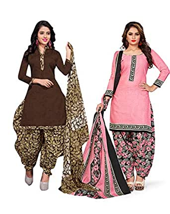 Rajnandini Women's Brown and Light Pink Cotton Printed Unstitched Salwar Suit Material (Combo Of 2) (Free Size)