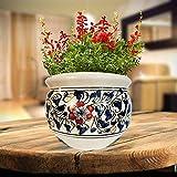 Niyara Ceramic Planters Pot, White Blue, 7.5 inch, 1 Piece