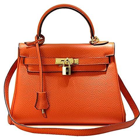 Macton Genuine Leather women's handbag MC-8030 (Orange)