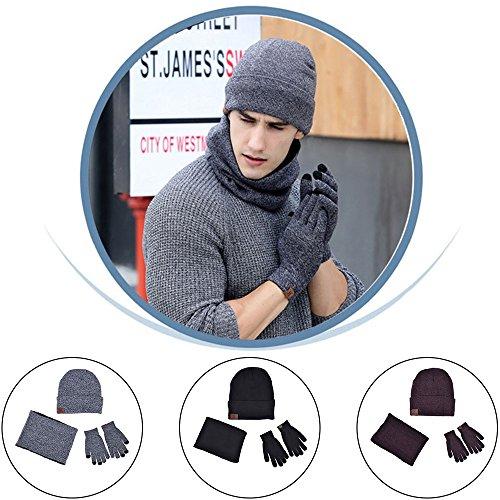 Gogogo GGG Men Women Unisex Hat Scarves Gloves Set Thermal Winter Warm Knitted Beanie Hat Neck Warmer and Touchscreen Gloves